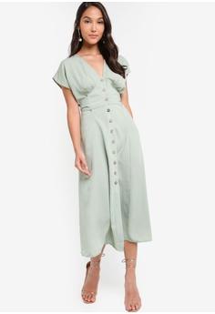 f9e42dbe ZALORA green Buttoned Down Midi Dress With Self Tie 269B7AA6653961GS_1
