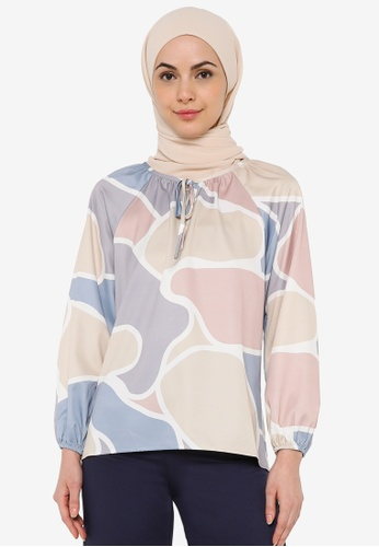 JULY multi Women Abstract Print Long Sleeves Blouse 71653AA12F9291GS_1