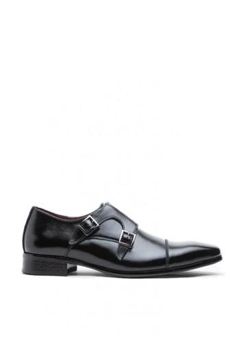 Kings Collection black Kieren Monk Strap Shoes 61703SH41661EDGS_1