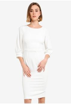 af900cfe3a2a CLOSET white Closet Pleated Sleeve Pencil Dress 60C63AAA4AC81EGS_1