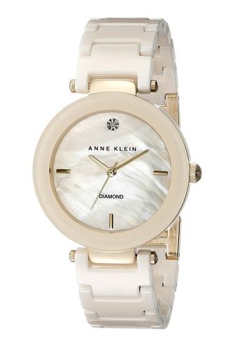 Anne Klein beige Anne Klein Ladies - Diamond Dial Ceramic Watch - AK-1018IVGB AN844AC0RGRZMY_1
