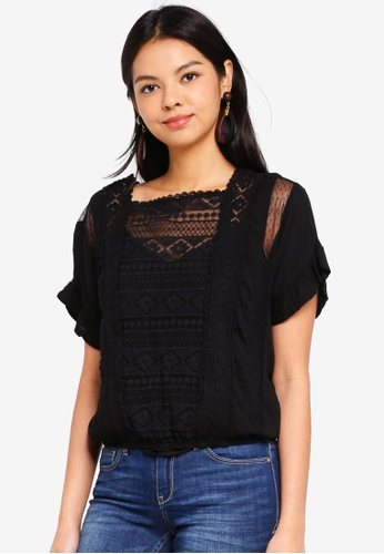 ONLY black Annie Lace Blocking Top 1EB22AA0EDEA07GS_1