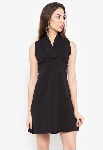 D Fashion Engineer black Reah Draped Collar Dress 8D462AA16D4405GS_1