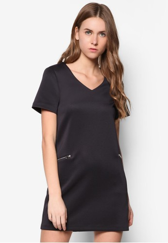 Collection Zip Pockets Shift Dress, zalora鞋服飾, 短洋裝