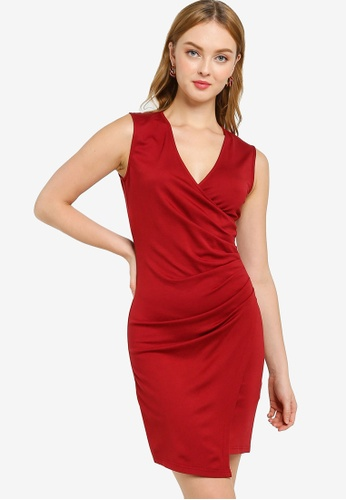 ZALORA WORK 紅色 褶飾緊身洋裝 328DBAA9B87B89GS_1
