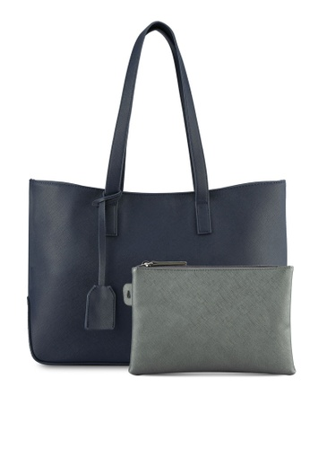 ZALORA navy Large Tote With Detachable Pouch CA689ACC7E76C2GS_1