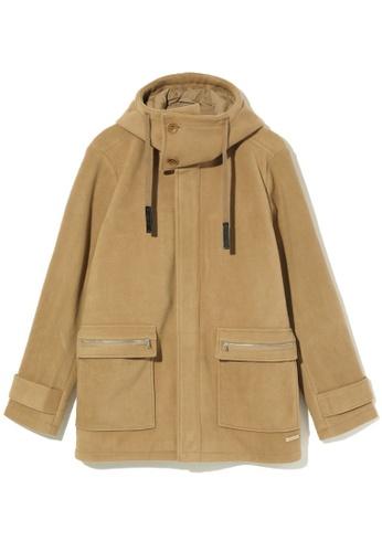 izzue beige Hooded fleece coat FE70CAAC53344BGS_1
