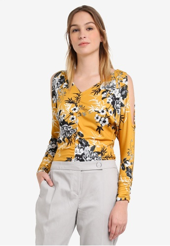 Dorothy Perkins yellow Yellow Floral Ruched Top DO816AA0S08LMY_1