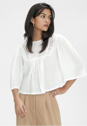 Pomelo white Long Sleeve Blouse - White 94F0EAA62749A0GS_1