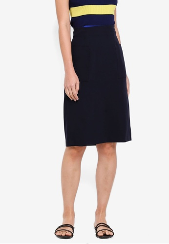 NAIN multi and navy High Waisted Slim Skirt E7CE6AAD6292EEGS_1