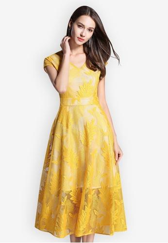 Sunnydaysweety yellow Lace V-Neck Short Sleeve flared One Piece Dress 73F8EAAA9057DFGS_1