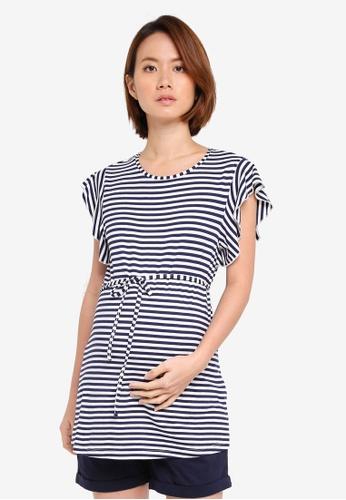 JoJo Maman Bébé navy Maternity Stripe Frill Sleeve Top A8721AA413F07AGS_1