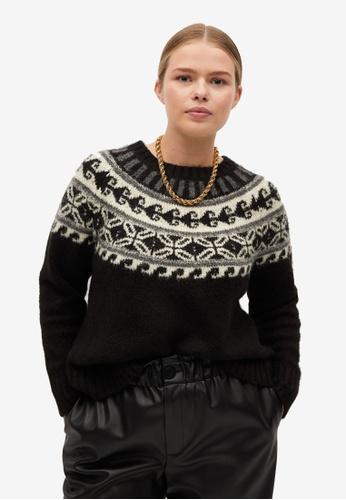 Violeta by MANGO black Plus Size Geometric Knit Sweater 3DBAFAA654C31BGS_1