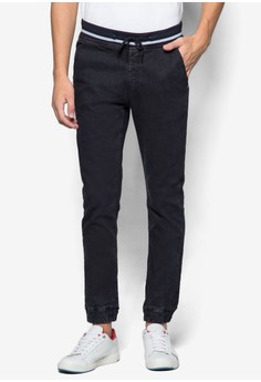 Accent Rib Washed Denim Jogger Pants