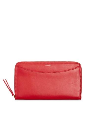 Skagen red Skagen Compact Leather Zip Wallet SWS0229684 SK533AC41CGGMY_1