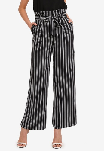 WAREHOUSE black and multi Stripe Wide Leg Trousers 89927AA888EDC6GS_1