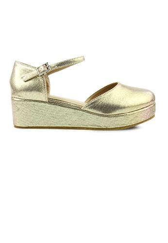SHINE gold Shining Round Toe Platform Wedges DE239SH6388054GS_1