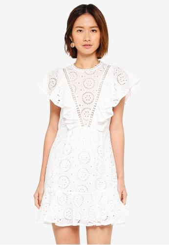 INDIKAH white Lace Skater Dress 9B94AAA86646CDGS_1