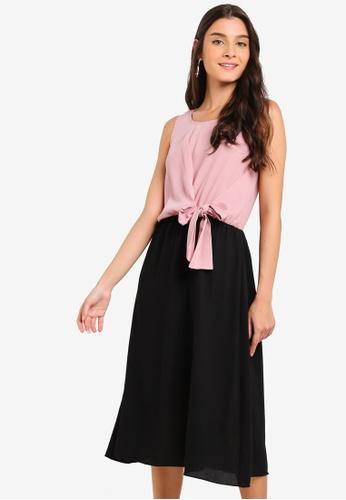 ZALORA pink and multi Tie Detail Midi Dress 77FBDAAAF2C9AAGS_1