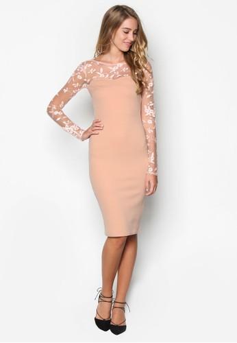 網紗拼接長袖esprit服飾洋裝, 服飾, 服飾
