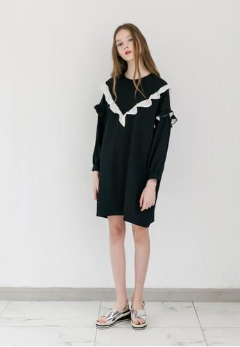 V 字荷葉飾長袖連身裙esprit 旺角, 服飾, 洋裝