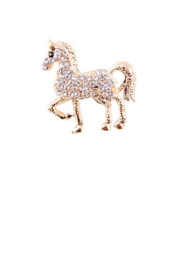 Glamorousky white Fashion and Dazzling Plated Gold Horse Brooch with Cubic Zirconia 05E45AC7E794CFGS_1