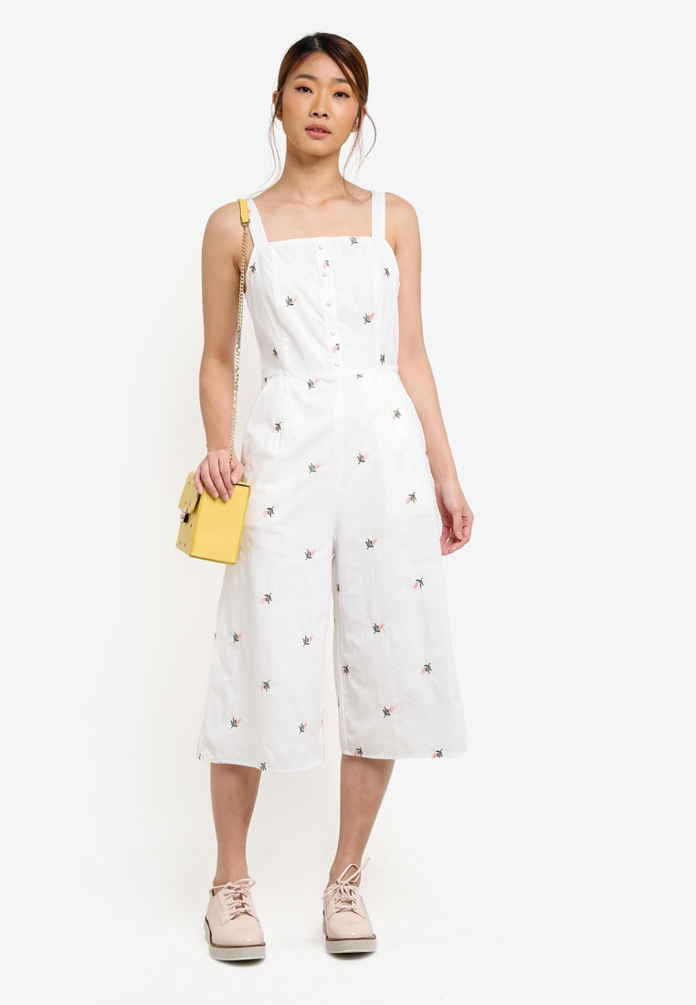 Jumpsuit Hem Ruffle Floral Borrowed Emb Something White gfRxqtnw