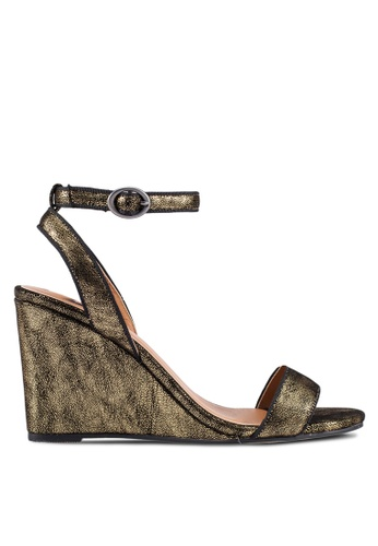 ZALORA gold Speckled Velvet Wedges ADE1ASH75F5B94GS_1