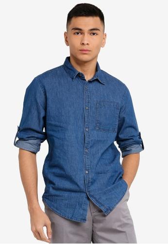 OVS 藍色 Men's 休閒長袖襯衫 A05DAAAA2E2B30GS_1