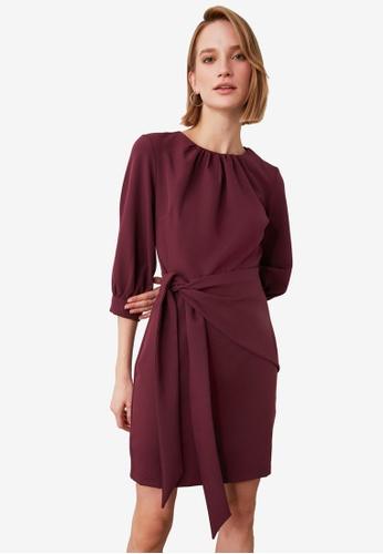 Trendyol red Tie Waist Detail Dress B7143AA1B8B480GS_1