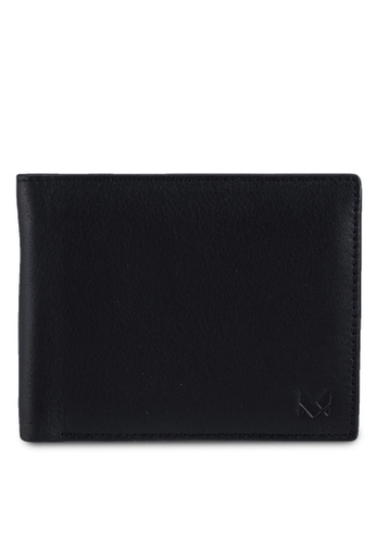Miajee's black Genuine Leather handcrafted card wallet with ID window & coin pouch - Black A7E98AC97813D5GS_1