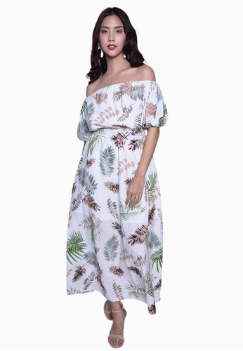 Caoros white Off-the-Shoulder Mixed Print Maxi Dress C6297AA8181961GS_1