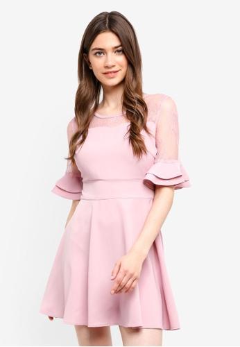 Yoco pink Lace Trumpet Sleeves Dress 09E3DAA7C316BFGS_1