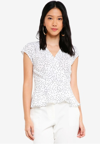 ZALORA white Wrap Peplum Top 47E8FAA10ADC42GS_1