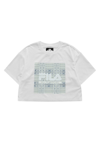 FILA white FILA x White Mountaineering Ethnic Print 3D Logo Cotton Cropped Top 4D83DAA4ABE2B5GS_1