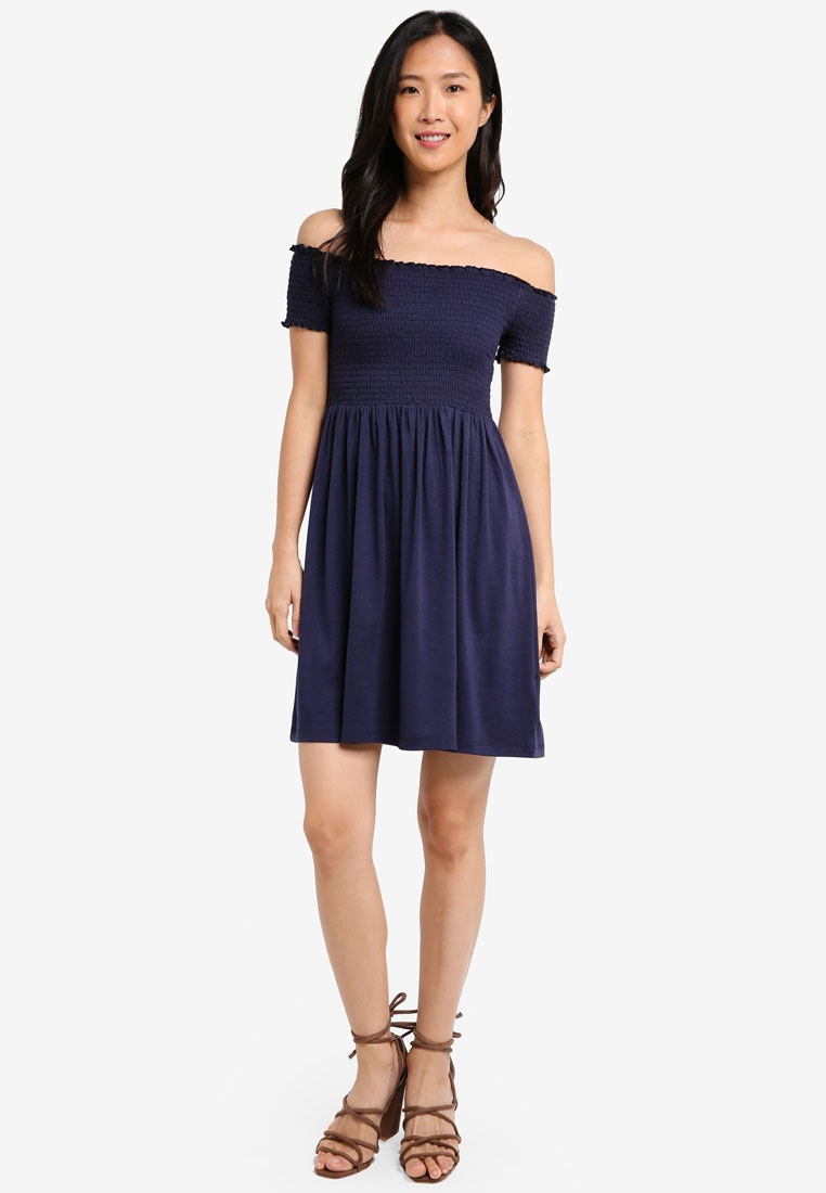 Smocked ZALORA Navy BASICS Dress 2 Essential Burgundy Pack XxFYFIE