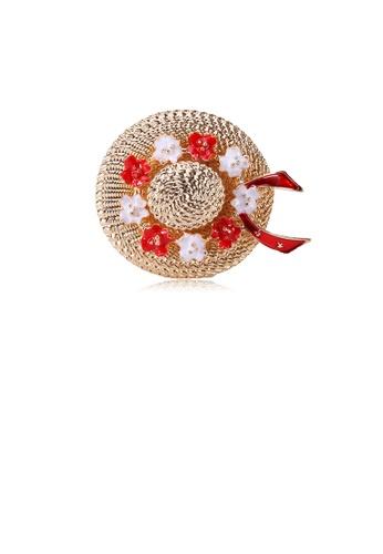 Glamorousky silver Fashion and Elegant Plated Gold Flower Hat Brooch 513DBAC4AEEB6DGS_1
