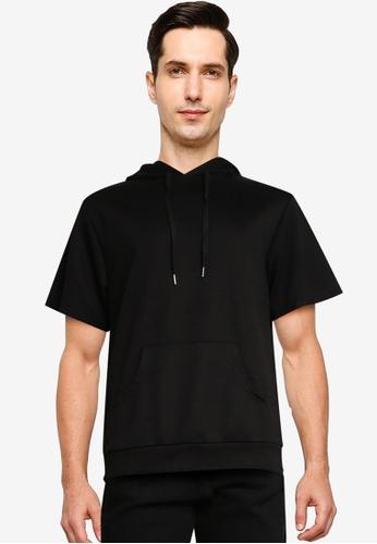 ZALORA BASICS black Boxy Fit Short Sleeve Hoodie 130F1AAF89EBA5GS_1