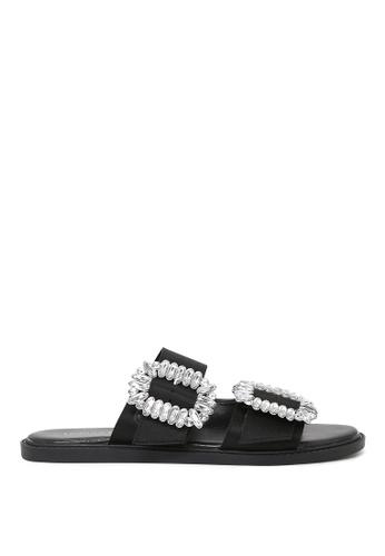 London Rag black Frida Double Strap Flat Sandals 50020SH8CB3088GS_1