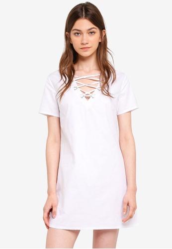Something Borrowed white Lace Up Detail Shift Dress 73EECAA06FA672GS_1