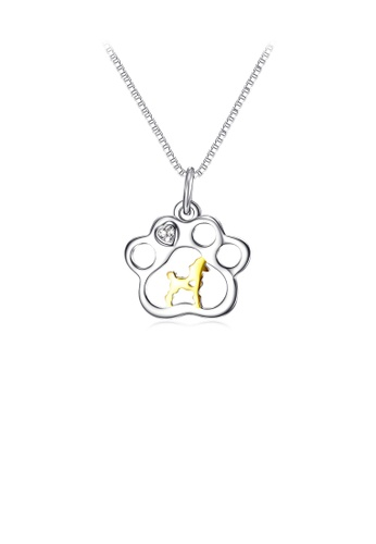 Glamorousky white 925 Sterling Silver Fashion Cute Golden Puppy Footprint Pendant with Cubic Zirconia and Necklace B9007ACB918261GS_1
