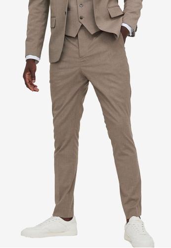 H&M beige Skinny Fit Suit Trousers 0E9D0AA3B557F2GS_1