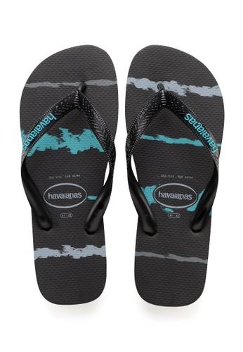 Havaianas black and blue Top Tropical Glitch Flip Flops A5BD9SH3B07794GS_1
