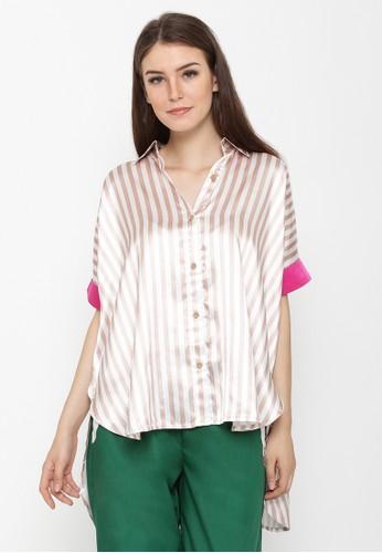 REE brown Stripe Satin Shirt - Brown & White 4DA7AAA0123335GS_1