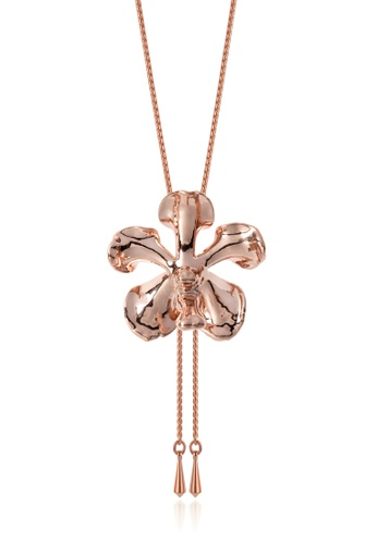 RISIS pink RISIS 18K Rose Gold Plated Natural Vanda Mariae Orchid Slider 0F3FBACCA75E50GS_1