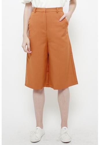 QLOTHE brown Ophelia Tailored Longline Pants 4C93CAA31C5F98GS_1
