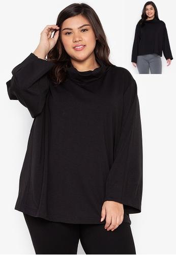 Kris Curve black Plus Size Karlie Wide High Neck Collar Cocoon Sleeves 12F8BAA2C55C98GS_1