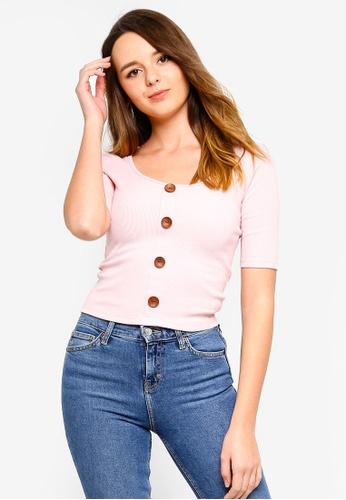 ZALORA pink Button Detail Mid Sleeves Rib Tee A084FAADB13057GS_1