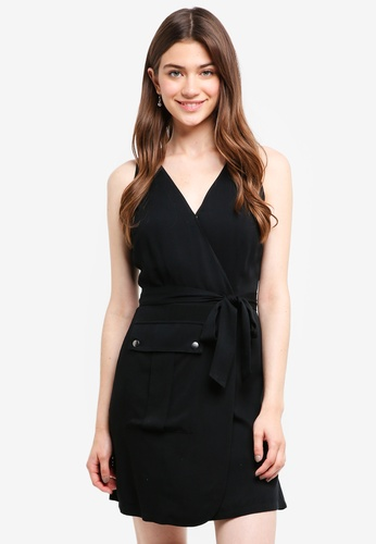 Something Borrowed black Belted Dress With Pocket Details F8544AA777B917GS_1