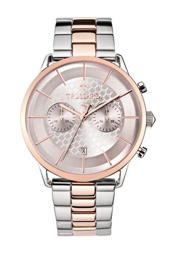 Trussardi gold Trussardi T-World Rose Gold Metal Band Chronograph Men's Watches R2473616002 5F05AACF87E922GS_1